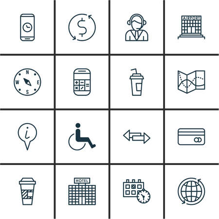 transact: Set Of Transportation Icons On Road Map, Call Duration And Crossroad Topics. Editable Vector Illustration. Includes Calculation, Road, Phone And More Vector Icons.