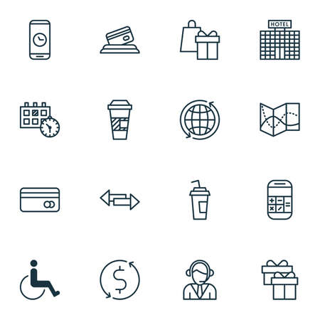 paralyzed: Set Of Travel Icons On Credit Card, Drink Cup And Calculation Topics. Editable Vector Illustration. Includes Time, Office, Paralyzed And More Vector Icons.