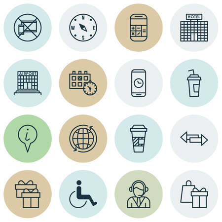 infirm: Set Of Airport Icons On World, Forbidden Mobile And Airport Construction Topics. Editable Vector Illustration. Includes Globe, Paralyzed, Arrows And More Vector Icons. Illustration