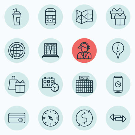 crossroad: Set Of Airport Icons On Crossroad, World And Road Map Topics. Editable Vector Illustration. Includes Present, Transfer, Debit And More Vector Icons. Illustration