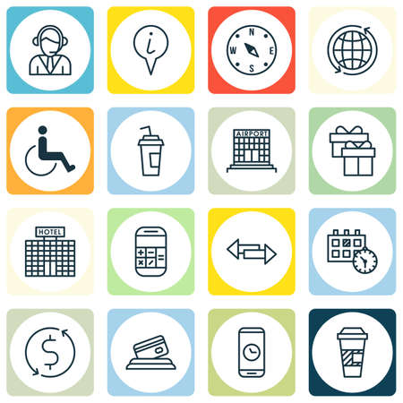 take charge: Set Of Transportation Icons On Appointment, Drink Cup And Locate Topics. Editable Vector Illustration. Includes Drink, Paralyzed, Accessibility And More Vector Icons.