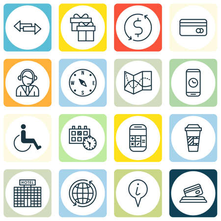 school bills: Set Of Transportation Icons On Locate, Takeaway Coffee And Operator Topics. Editable Vector Illustration. Includes Arrows, Globe, Road And More Vector Icons.