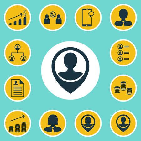 Définir des ressources humaines à icônes Pin employés, la messagerie et des sujets d'argent. Editable Vector Illustration. Comprend Organisation, Coins, Carrière Et Plus icônes vectorielles.