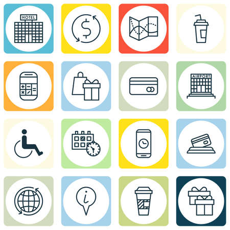 accessibility: Set Of Travel Icons On Accessibility, Drink Cup And Appointment Topics. Editable Vector Illustration. Includes Calculator, Accessibility, Mobile And More Vector Icons.
