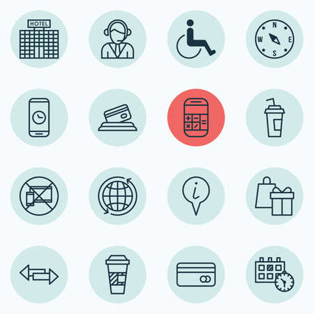 infirm: Set Of Traveling Icons On Locate, Takeaway Coffee And World Topics. Editable Vector Illustration. Includes Hotel, Cup, Operator And More Vector Icons.