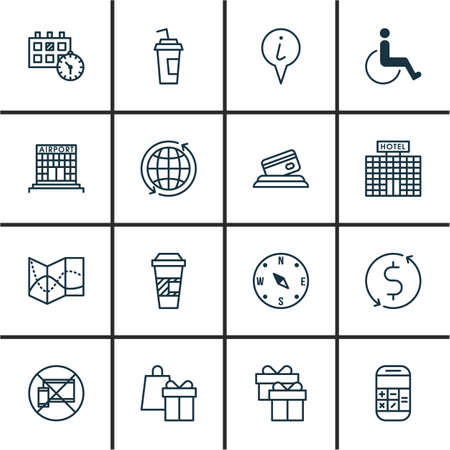 infirm: Set Of Traveling Icons On Airport Construction, Takeaway Coffee And Hotel Construction Topics. Editable Vector Illustration. Includes Office, Appointment, Transfer And More Vector Icons. Illustration