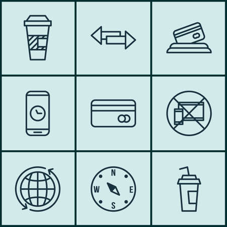 around the clock: Set Of 9 Airport Icons. Can Be Used For Web, Mobile, UI And Infographic Design. Includes Elements Such As Mobile, Drink, Device And More.