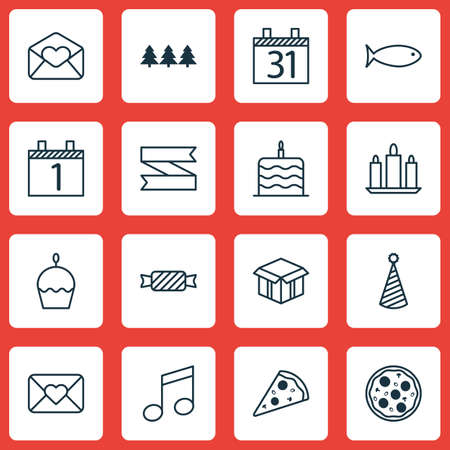 wax sell: Set Of 16 Holiday Icons. Can Be Used For Web, Mobile, UI And Infographic Design. Includes Elements Such As Agenda, Blank, Flame And More.