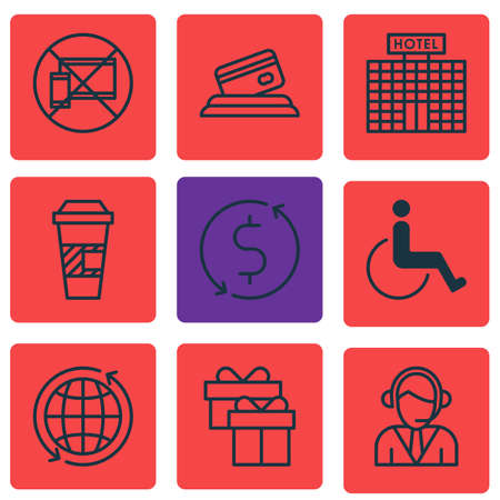 away travel: Set Of 9 Traveling Icons. Can Be Used For Web, Mobile, UI And Infographic Design. Includes Elements Such As Disabled, Coffee, Card And More. Illustration