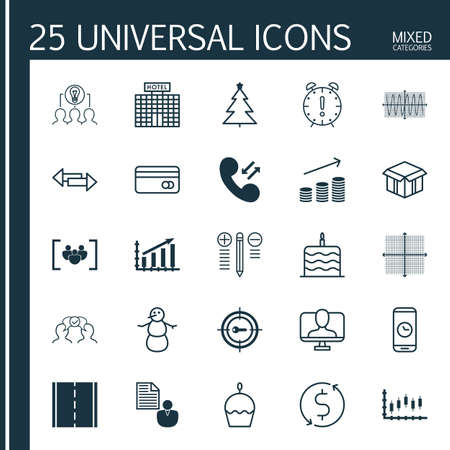 Set Of 25 Universal Editable Icons. Can Be Used For Web, Mobile And App Design. Includes Elements Such As Winter, Open Cardboard, Hotel Construction And More. Illustration