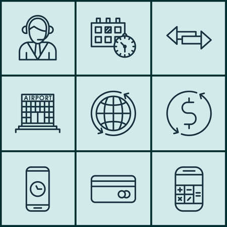 crossroad: Set Of 9 Transportation Icons. Can Be Used For Web, Mobile, UI And Infographic Design. Includes Elements Such As Call, Crossroad, Credit And More.