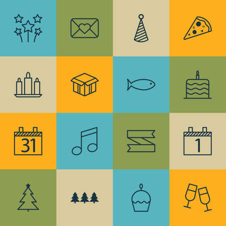 wax sell: Set Of 16 New Year Icons. Can Be Used For Web, Mobile, UI And Infographic Design. Includes Elements Such As Party, Musical, Food And More.