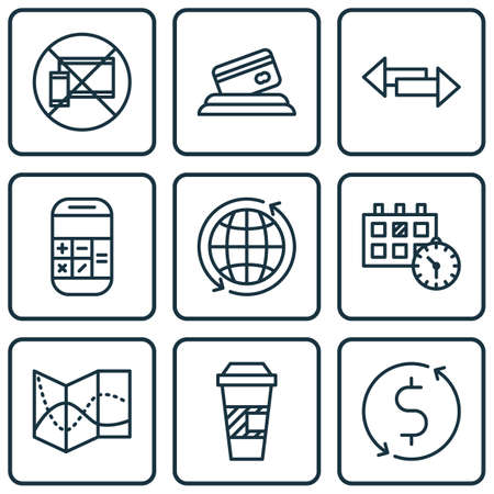 crossroad: Set Of 9 Travel Icons. Can Be Used For Web, Mobile, UI And Infographic Design. Includes Elements Such As No, Map, Crossroad And More.