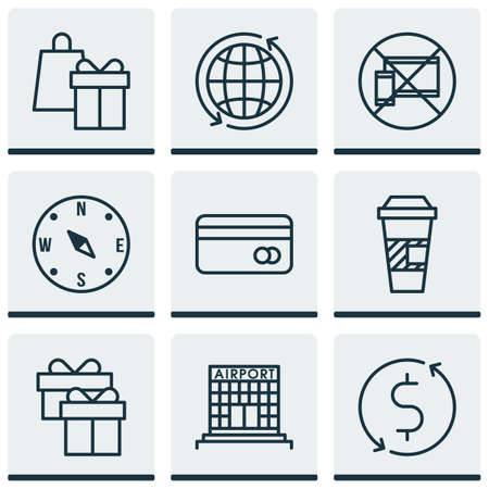 profit celebration: Set Of 9 Travel Icons. Can Be Used For Web, Mobile, UI And Infographic Design. Includes Elements Such As No, Map, Credit And More.