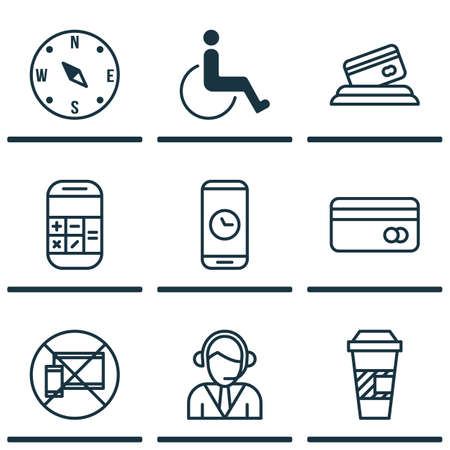 accessibility: Set Of 9 Travel Icons. Can Be Used For Web, Mobile, UI And Infographic Design. Includes Elements Such As Accessibility, Calculator, Map And More.