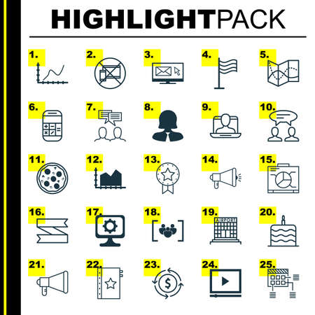 electronic survey: Set Of 25 Universal Editable Icons. Can Be Used For Web, Mobile And App Design. Includes Elements Such As Announcement, Questionnaire, Newsletter And More.
