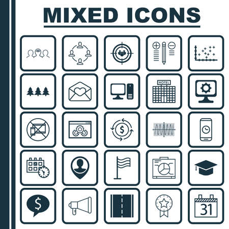 Set Of 25 Universal Editable Icons. Can Be Used For Web, Mobile And App Design. Includes Elements Such As Coaching, Desktop Computer, PC And More.
