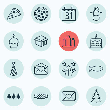swimming candles: Set Of 16 Christmas Icons. Can Be Used For Web, Mobile, UI And Infographic Design. Includes Elements Such As Wax, Cake, Celebrate And More.