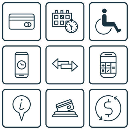 paralyzed: Set Of 9 Transportation Icons. Can Be Used For Web, Mobile, UI And Infographic Design. Includes Elements Such As Dollar, Paralyzed, Date And More. Illustration