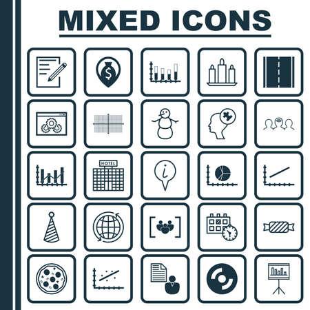 Set di 25 icone modificabili universali. Può essere utilizzato per Web, Mobile e App Design. Include elementi come la navigazione di denaro, il diagramma quadrato, la presentazione e altro ancora.