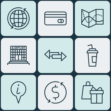 Set Of 9 Transportation Icons. Can Be Used For Web, Mobile, UI And Infographic Design. Includes Elements Such As Dollar, Airport, Paper And More.