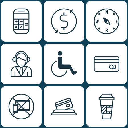 away travel: Set Of 9 Airport Icons. Can Be Used For Web, Mobile, UI And Infographic Design. Includes Elements Such As Math, Cup, No And More.