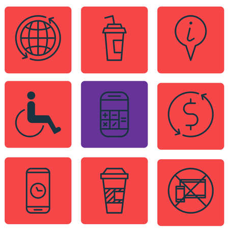 paralyzed: Set Of 9 Travel Icons. Can Be Used For Web, Mobile, UI And Infographic Design. Includes Elements Such As Pointer, Paralyzed, No And More. Illustration