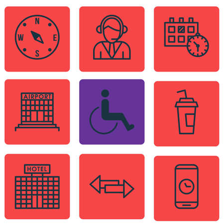tour operator: Set Of 9 Traveling Icons. Can Be Used For Web, Mobile, UI And Infographic Design. Includes Elements Such As Disabled, Cup, Hotel And More.