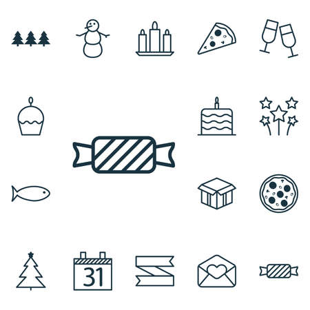 wax sell: Set Of 16 Happy New Year Icons. Can Be Used For Web, Mobile, UI And Infographic Design. Includes Elements Such As Wax, Aquatic, Box And More.