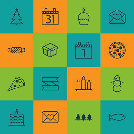 wax sell: Set Of 16 Celebration Icons. Can Be Used For Web, Mobile, UI And Infographic Design. Includes Elements Such As Agenda, Tree, Pizza And More. Illustration