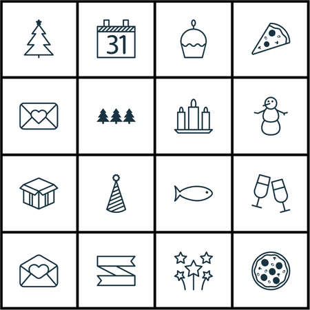 wax sell: Set Of 16 Celebration Icons. Can Be Used For Web, Mobile, UI And Infographic Design. Includes Elements Such As Cupcake, Festive, Envelope And More.