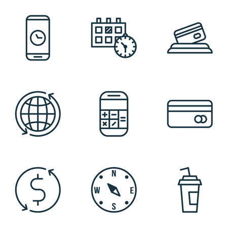 around the clock: Set Of 9 Travel Icons. Can Be Used For Web, Mobile, UI And Infographic Design. Includes Elements Such As Calculator, Locate, Time And More.