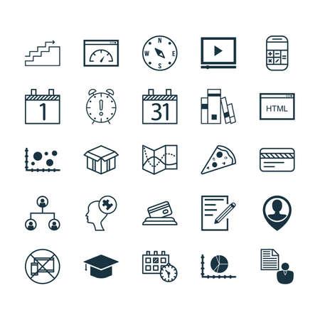 Conjunto de 25 iconos editables Universal. Se puede usar para diseño web, móvil y de aplicaciones. Incluye elementos tales como papel, estructura de árbol, localizar y más. Ilustración de vector