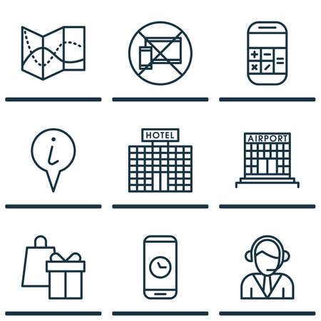 financial position: Set Of 9 Travel Icons. Can Be Used For Web, Mobile, UI And Infographic Design. Includes Elements Such As Device, Calculator, Math And More.