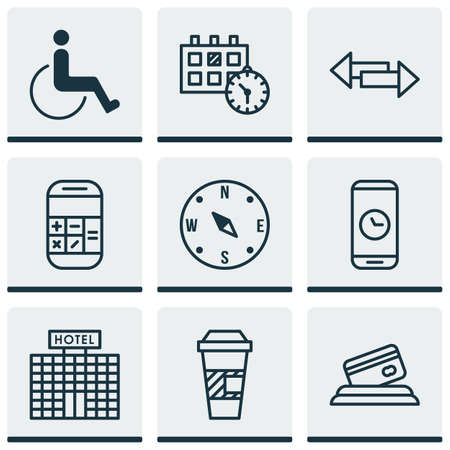 paralyzed: Set Of 9 Airport Icons. Can Be Used For Web, Mobile, UI And Infographic Design. Includes Elements Such As Crossroad, Paralyzed, Time And More.