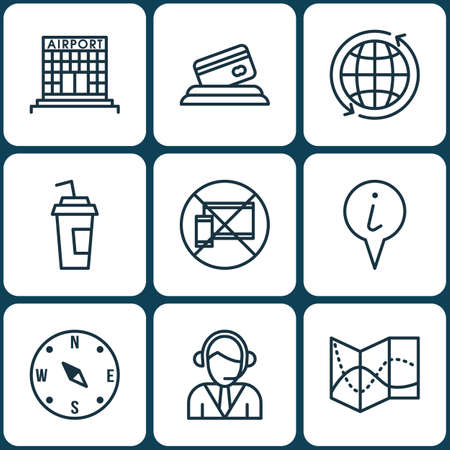internet terminals: Set Of 9 Travel Icons. Can Be Used For Web, Mobile, UI And Infographic Design. Includes Elements Such As Call, Drink, Road And More. Illustration