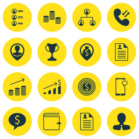 profit celebration: Set Of 16 Hr Icons. Can Be Used For Web, Mobile, UI And Infographic Design. Includes Elements Such As Stacked, Organisation, Map And More. Illustration