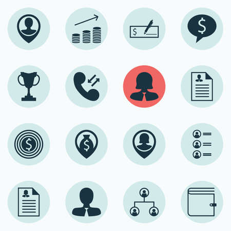 profit celebration: Set Of 16 Human Resources Icons. Can Be Used For Web, Mobile, UI And Infographic Design. Includes Elements Such As Prize, Tree, User And More.