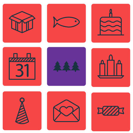 swimming candles: Set Of 9 Holiday Icons. Can Be Used For Web, Mobile, UI And Infographic Design. Includes Elements Such As Candy, Christmas, Fish And More. Illustration