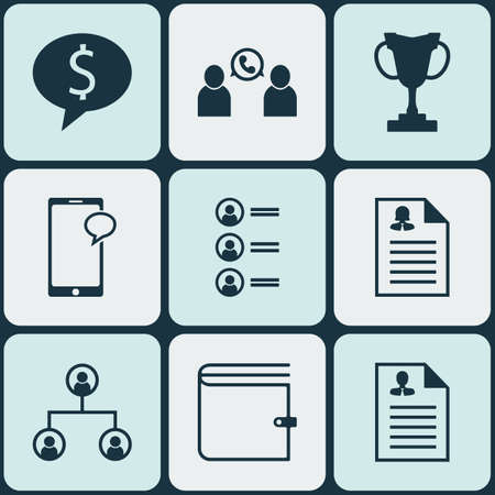 list of successful candidates: Set Of 9 Management Icons. Can Be Used For Web, Mobile, UI And Infographic Design. Includes Elements Such As Trophy, List, Purse And More.