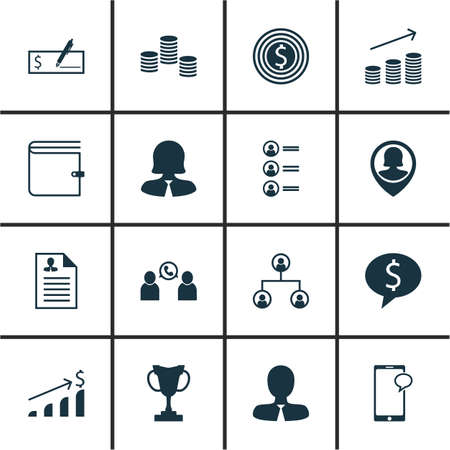winning bid: Set Of 16 Management Icons. Can Be Used For Web, Mobile, UI And Infographic Design. Includes Elements Such As Organisation, Coins, Goal And More.