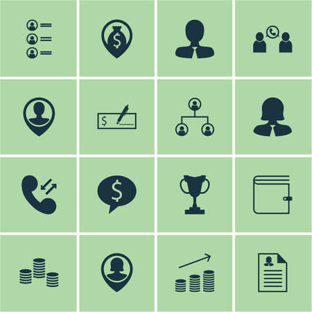 profit celebration: Set Of 16 Hr Icons. Can Be Used For Web, Mobile, UI And Infographic Design. Includes Elements Such As Cup, Call, Prize And More.
