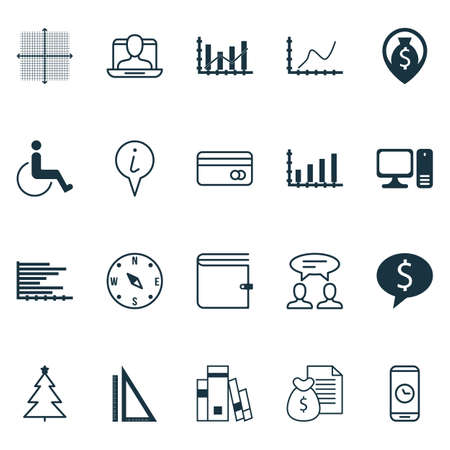 profile measurement: Set Of 20 Universal Editable Icons. Can Be Used For Web, Mobile And App Design. Includes Elements Such As Report, Wallet, Achievement Graph And More. Illustration