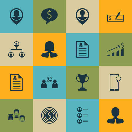 list of successful candidates: Set Of 16 Human Resources Icons. Can Be Used For Web, Mobile, UI And Infographic Design. Includes Elements Such As Organisation, Cup, Career And More.