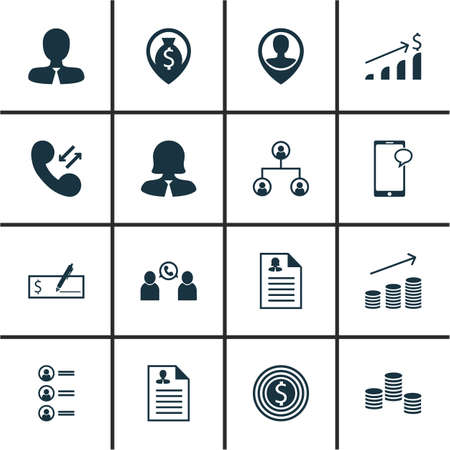 list of successful candidates: Set Of 16 Management Icons. Can Be Used For Web, Mobile, UI And Infographic Design. Includes Elements Such As Money, Resume, Chat And More. Illustration