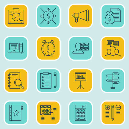 personality development: Set Of 16 Project Management Icons. Can Be Used For Web, Mobile, UI And Infographic Design. Includes Elements Such As Statistics, Announcement, Decision And More.