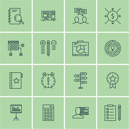 best employee: Set Of 16 Project Management Icons. Can Be Used For Web, Mobile, UI And Infographic Design. Includes Elements Such As Research, Right, Investment And More.