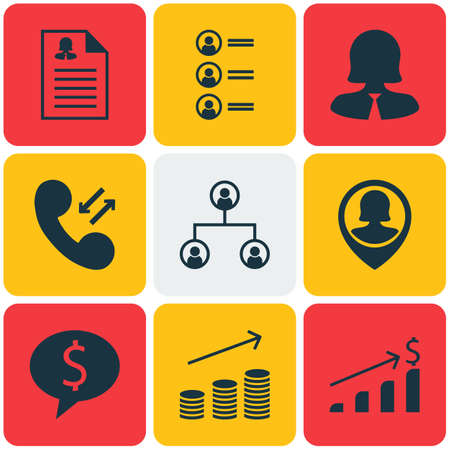 phone money: Set Of 9 Hr Icons. Can Be Used For Web, Mobile, UI And Infographic Design. Includes Elements Such As Call, Phone, Money And More. Illustration