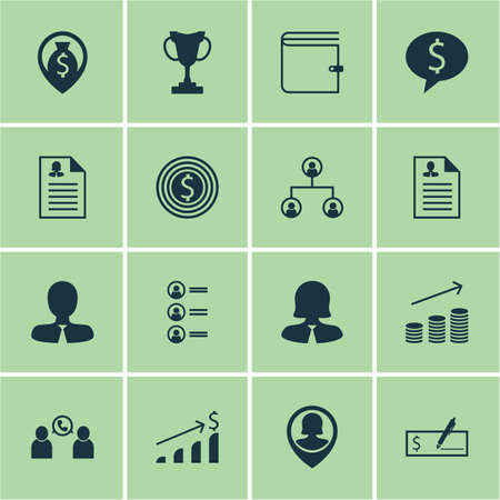 winning bid: Set Of 16 Management Icons. Can Be Used For Web, Mobile, UI And Infographic Design. Includes Elements Such As Job, Profile, Bank And More.