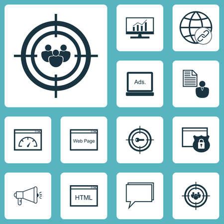 Ensemble de 12 icônes publicitaires. Peut être utilisé pour Web, Mobile, UI et conception infographique. Inclut des éléments tels que la performance, la communauté, la publicité, etc.